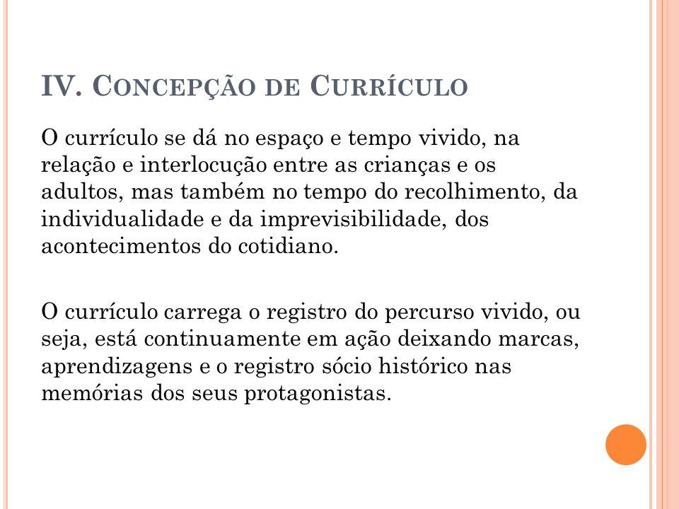 IV. Concepção de Currículo