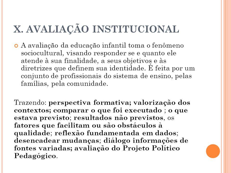 X. AVALIAÇÃO INSTITUCIONAL