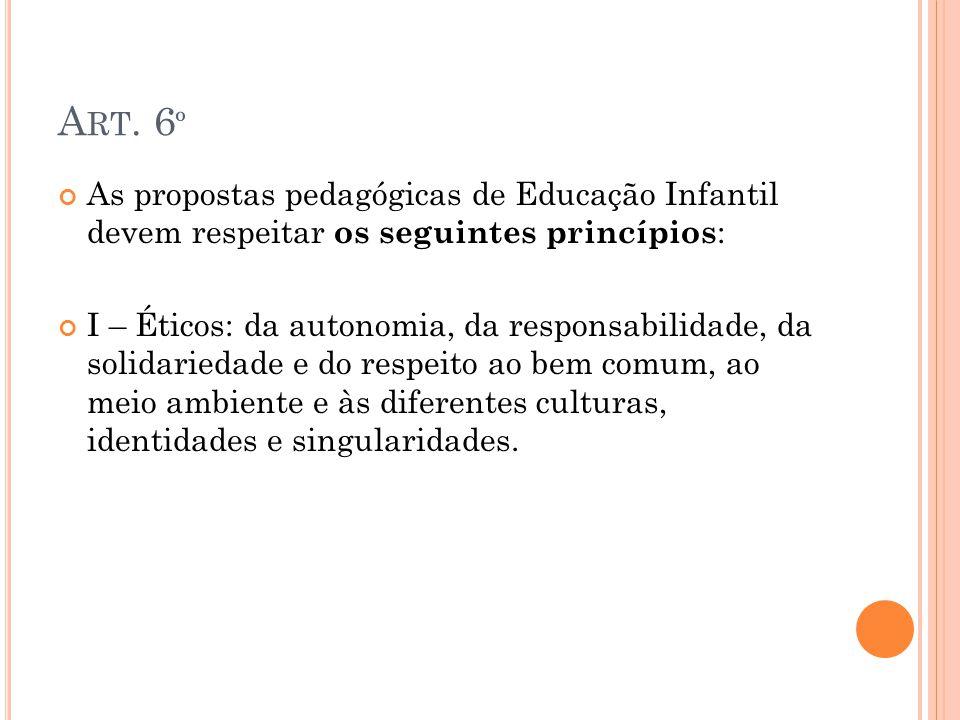 Art. 6º As propostas pedagógicas de Educação Infantil devem respeitar os seguintes princípios: