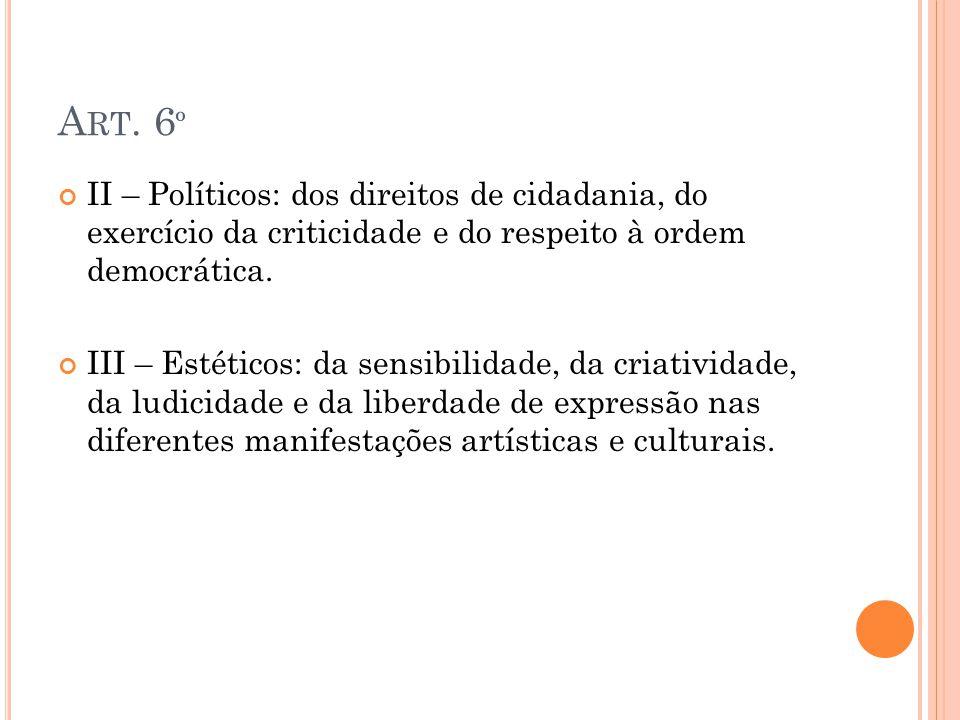 Art. 6º II – Políticos: dos direitos de cidadania, do exercício da criticidade e do respeito à ordem democrática.