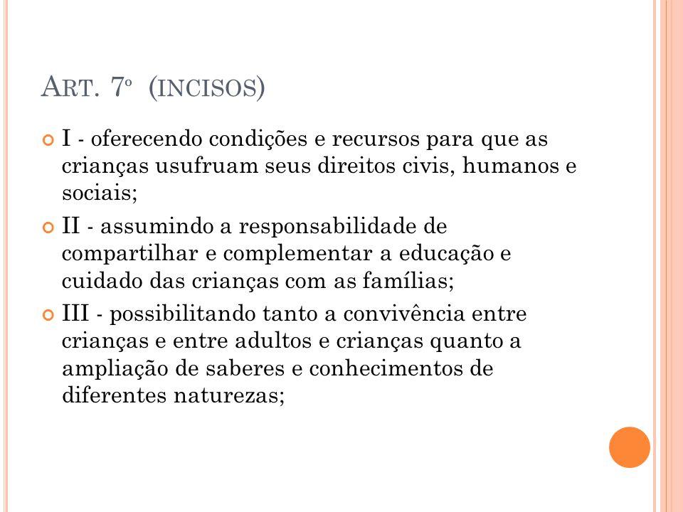 Art. 7º (incisos) I - oferecendo condições e recursos para que as crianças usufruam seus direitos civis, humanos e sociais;