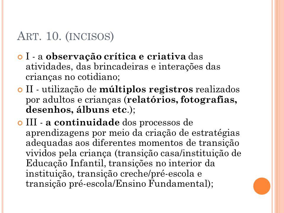 Art. 10. (incisos) I - a observação crítica e criativa das atividades, das brincadeiras e interações das crianças no cotidiano;