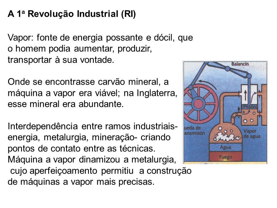 A 1a Revolução Industrial (RI) Vapor: fonte de energia possante e dócil, que o homem podia aumentar, produzir, transportar à sua vontade.