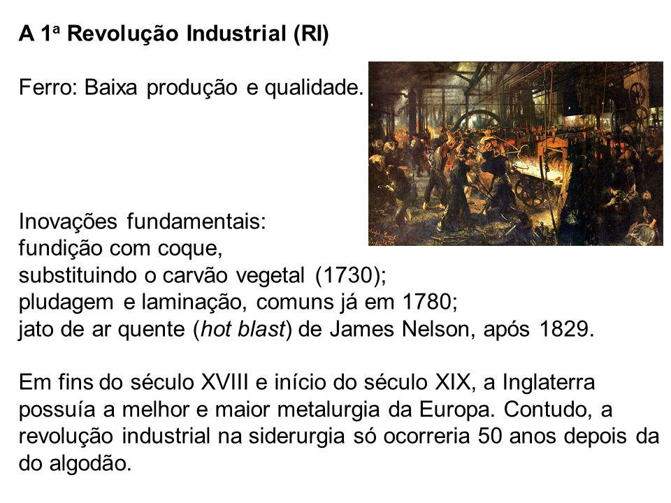 A 1a Revolução Industrial (RI) Ferro: Baixa produção e qualidade