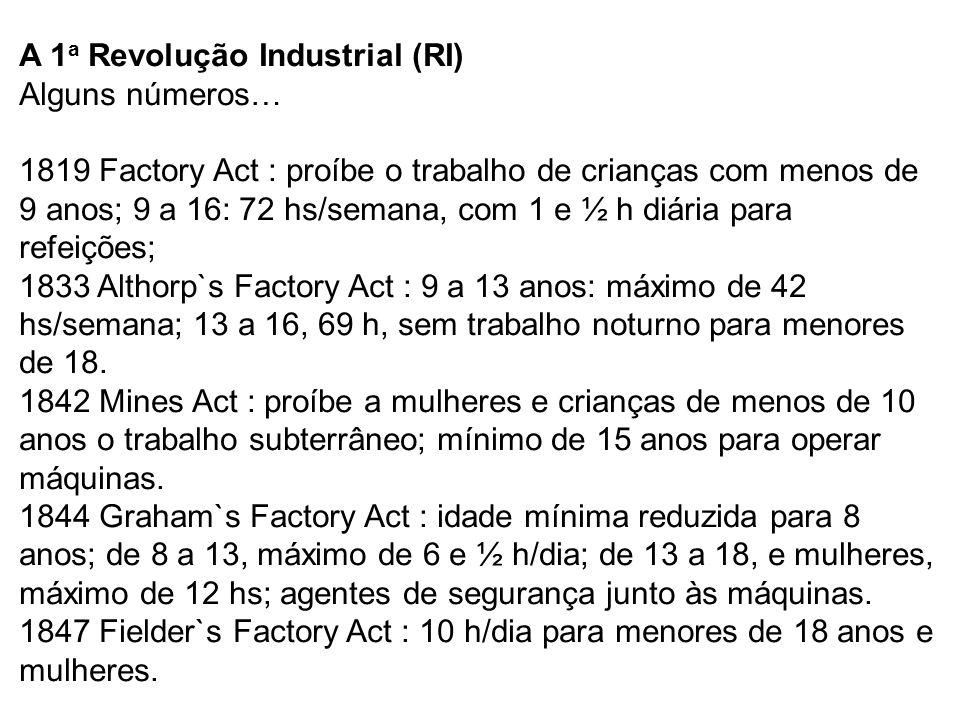 A 1a Revolução Industrial (RI) Alguns números… 1819 Factory Act : proíbe o trabalho de crianças com menos de 9 anos; 9 a 16: 72 hs/semana, com 1 e ½ h diária para refeições; 1833 Althorp`s Factory Act : 9 a 13 anos: máximo de 42 hs/semana; 13 a 16, 69 h, sem trabalho noturno para menores de 18.