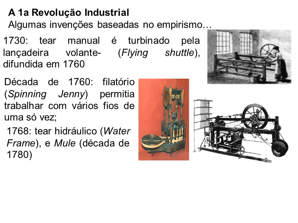 A 1a Revolução Industrial Algumas invenções baseadas no empirismo…