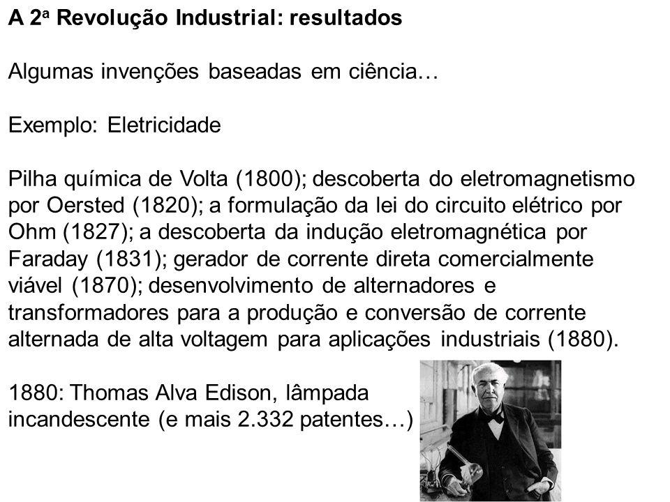 A 2a Revolução Industrial: resultados Algumas invenções baseadas em ciência… Exemplo: Eletricidade Pilha química de Volta (1800); descoberta do eletromagnetismo por Oersted (1820); a formulação da lei do circuito elétrico por Ohm (1827); a descoberta da indução eletromagnética por Faraday (1831); gerador de corrente direta comercialmente viável (1870); desenvolvimento de alternadores e transformadores para a produção e conversão de corrente alternada de alta voltagem para aplicações industriais (1880).