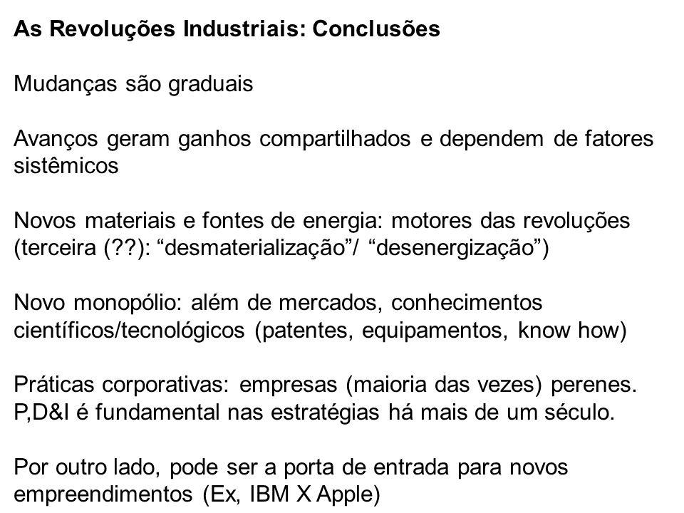 As Revoluções Industriais: Conclusões Mudanças são graduais Avanços geram ganhos compartilhados e dependem de fatores sistêmicos Novos materiais e fontes de energia: motores das revoluções (terceira ( ): desmaterialização / desenergização ) Novo monopólio: além de mercados, conhecimentos científicos/tecnológicos (patentes, equipamentos, know how) Práticas corporativas: empresas (maioria das vezes) perenes.