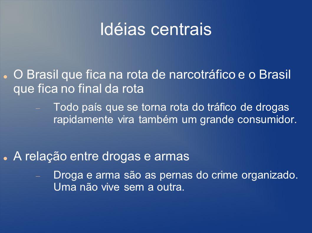 Idéias centrais O Brasil que fica na rota de narcotráfico e o Brasil que fica no final da rota.