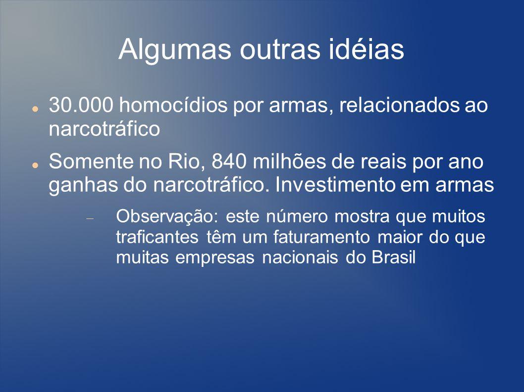 Algumas outras idéias 30.000 homocídios por armas, relacionados ao narcotráfico.