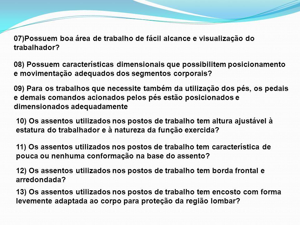 07)Possuem boa área de trabalho de fácil alcance e visualização do trabalhador