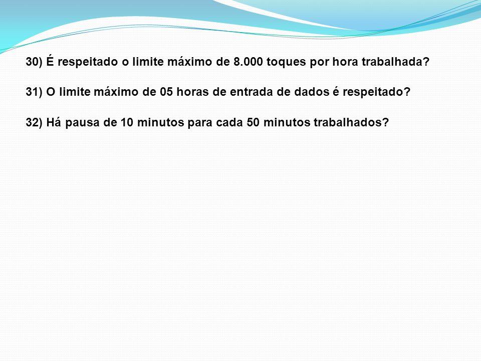 30) É respeitado o limite máximo de 8.000 toques por hora trabalhada