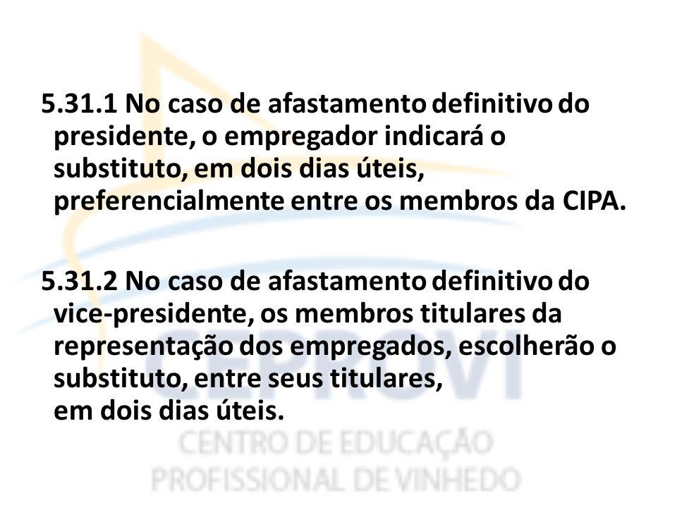 5.31.1 No caso de afastamento definitivo do presidente, o empregador indicará o substituto, em dois dias úteis, preferencialmente entre os membros da CIPA.