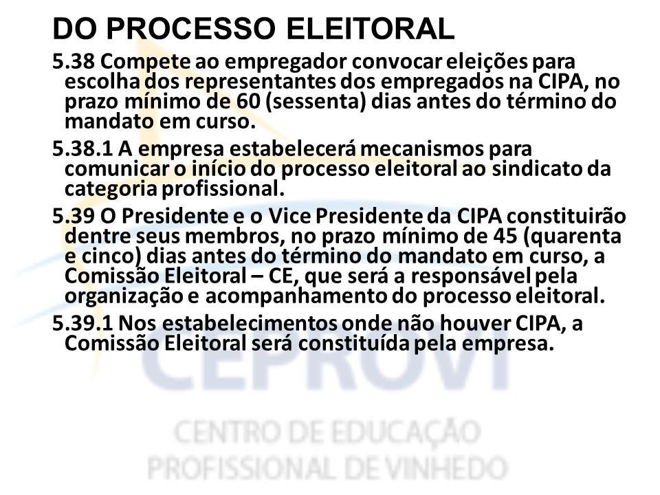 DO PROCESSO ELEITORAL