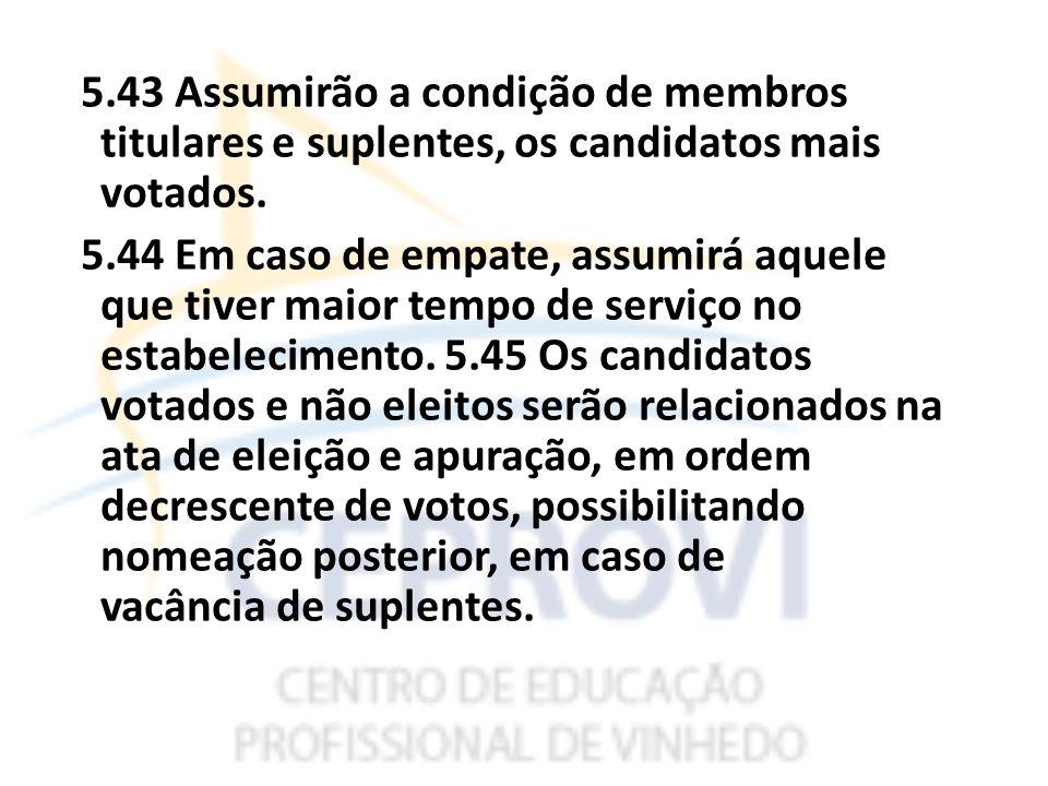 5.43 Assumirão a condição de membros titulares e suplentes, os candidatos mais votados.