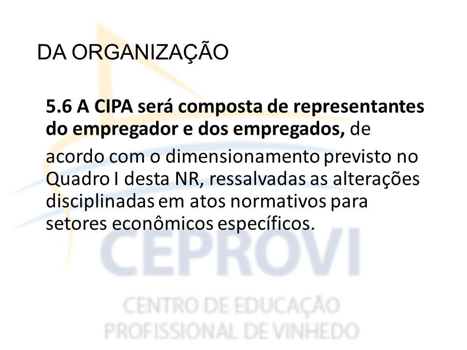 DA ORGANIZAÇÃO 5.6 A CIPA será composta de representantes do empregador e dos empregados, de.