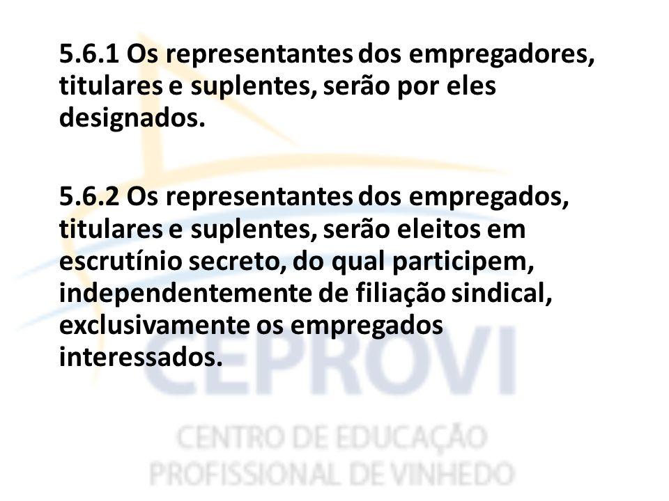 5.6.1 Os representantes dos empregadores, titulares e suplentes, serão por eles designados.
