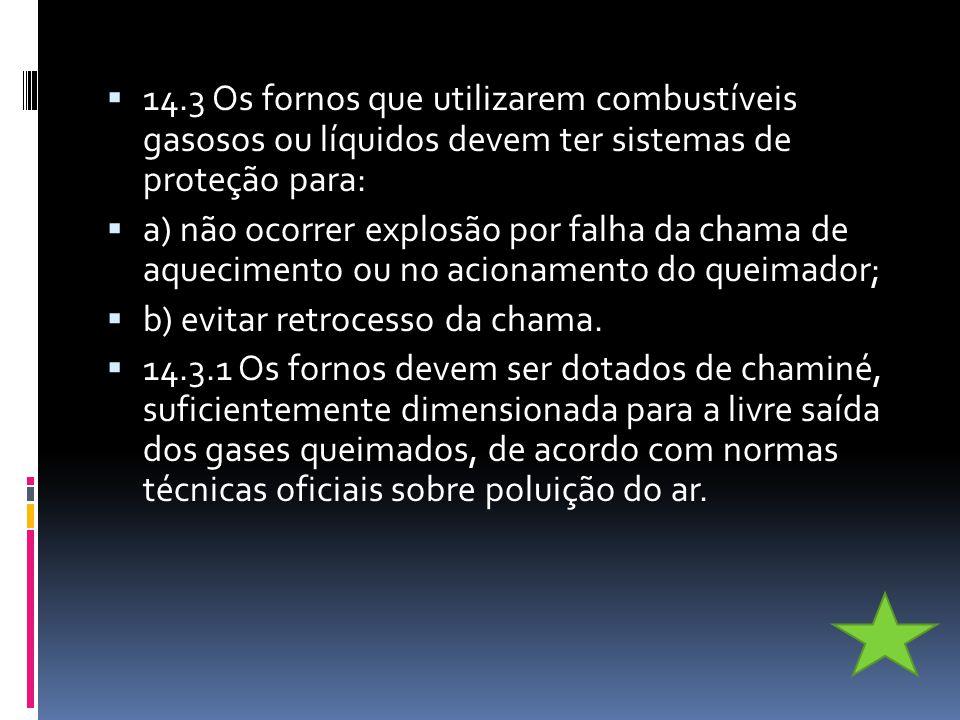 14.3 Os fornos que utilizarem combustíveis gasosos ou líquidos devem ter sistemas de proteção para: