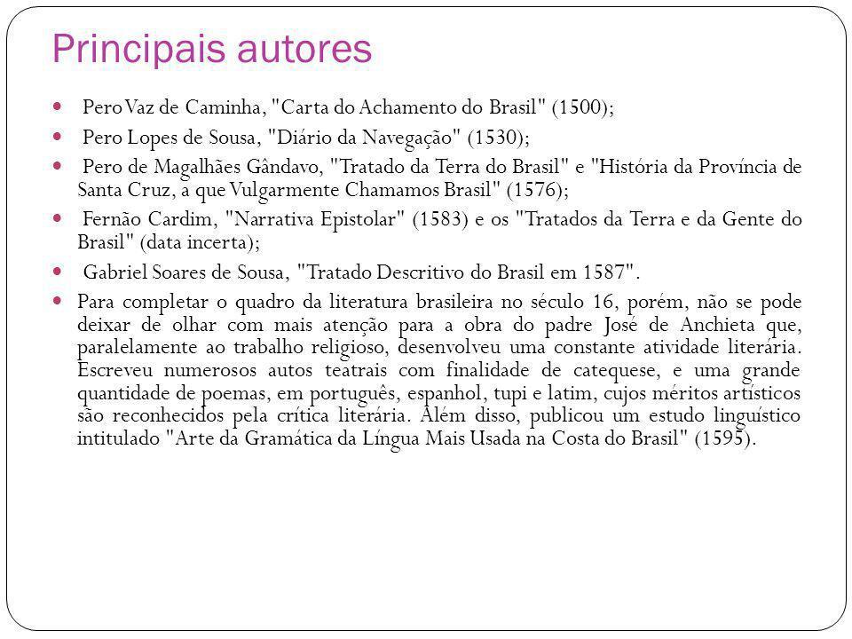 Principais autores Pero Vaz de Caminha, Carta do Achamento do Brasil (1500); Pero Lopes de Sousa, Diário da Navegação (1530);