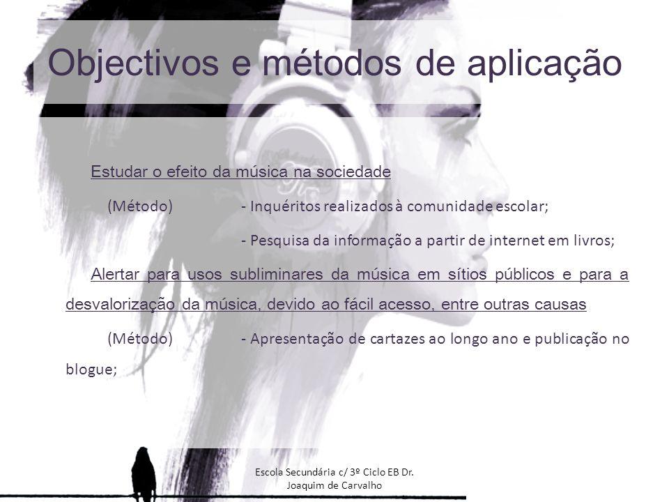 Objectivos e métodos de aplicação