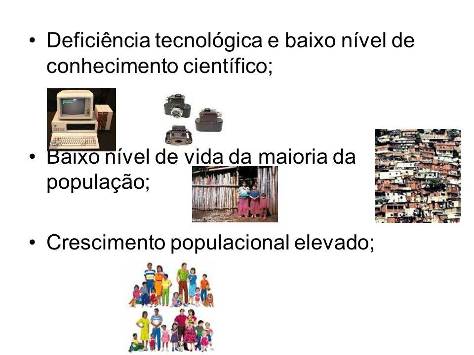 Deficiência tecnológica e baixo nível de conhecimento científico;