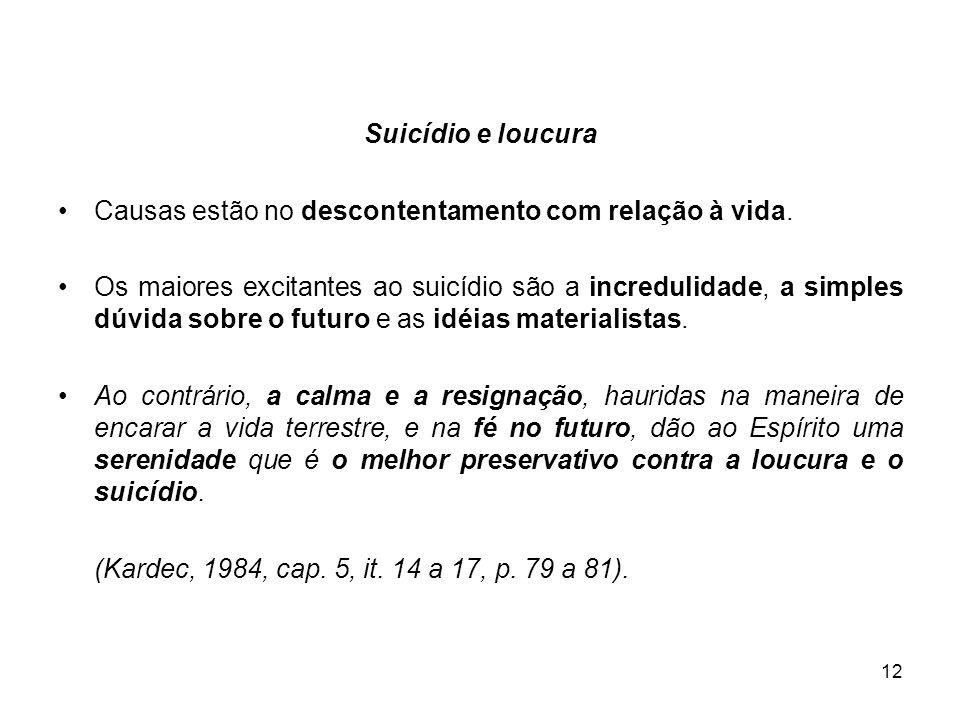 Suicídio e loucura Causas estão no descontentamento com relação à vida.