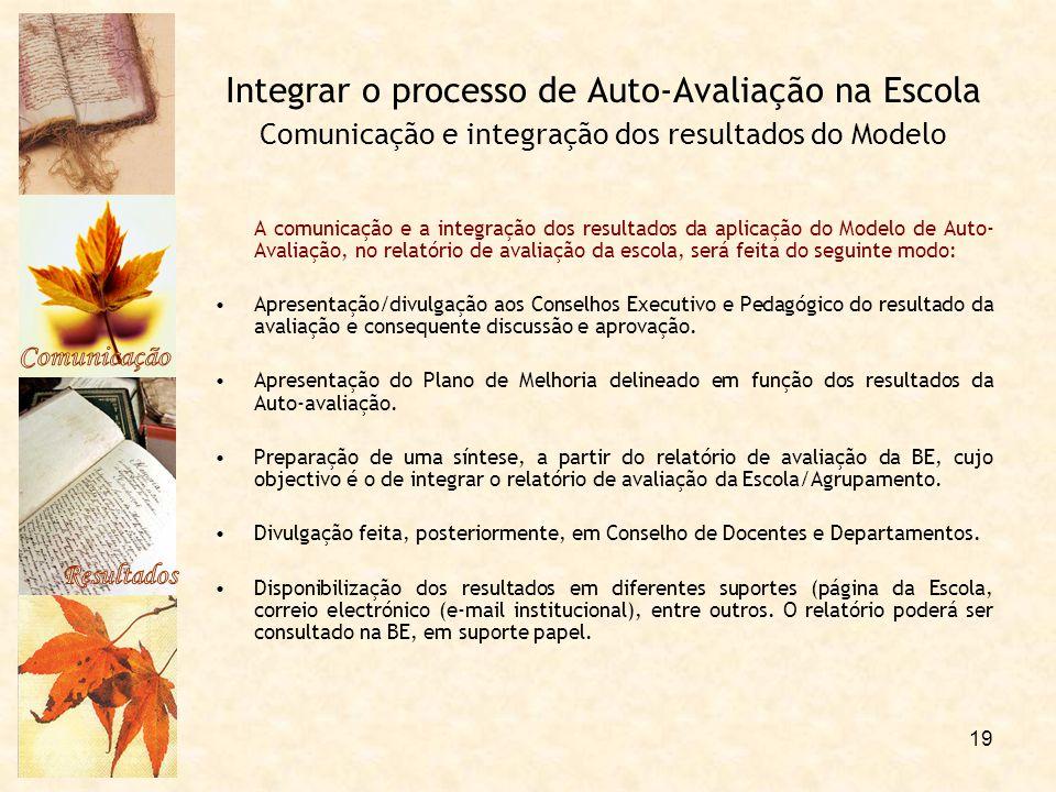 Comunicação Resultados. Integrar o processo de Auto-Avaliação na Escola Comunicação e integração dos resultados do Modelo.