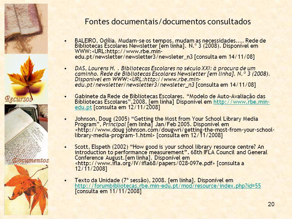 Fontes documentais/documentos consultados