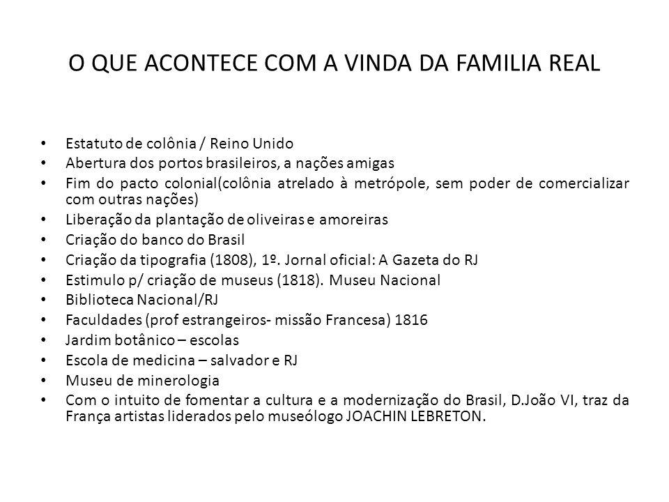 O QUE ACONTECE COM A VINDA DA FAMILIA REAL