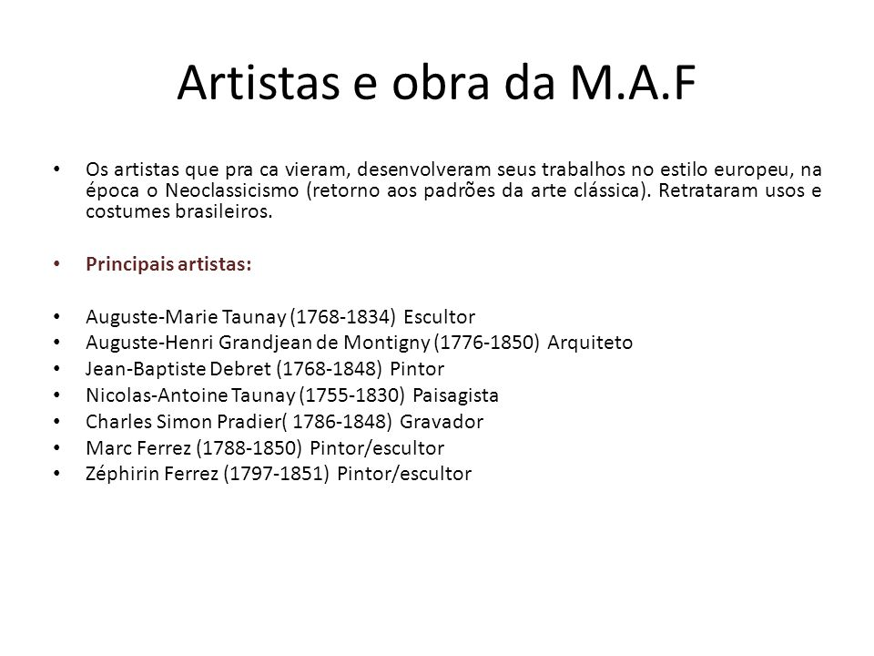 Artistas e obra da M.A.F