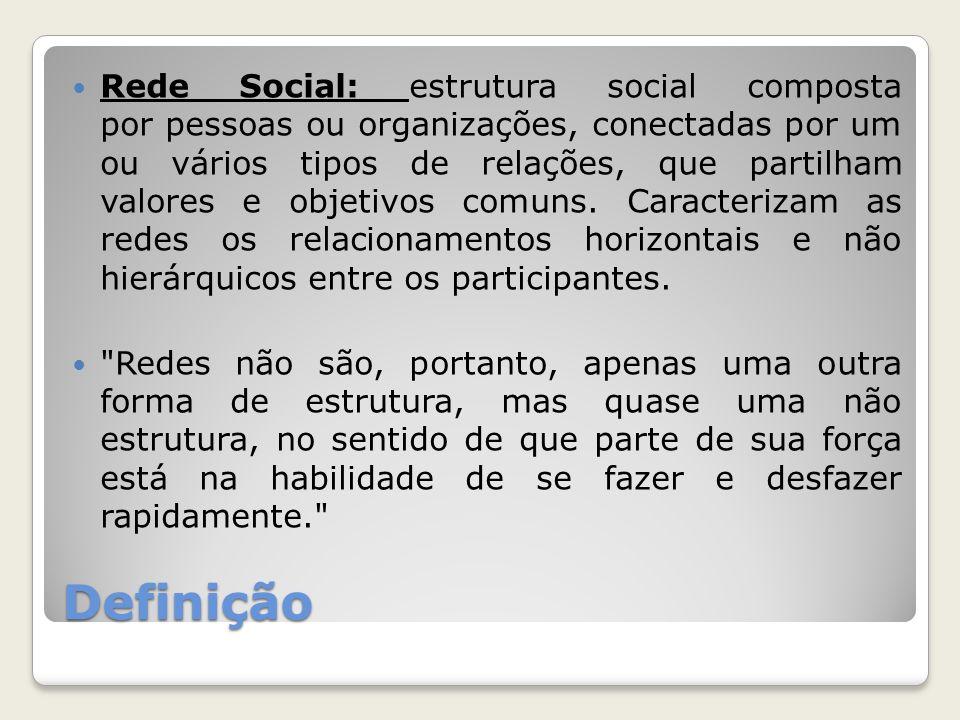 Rede Social: estrutura social composta por pessoas ou organizações, conectadas por um ou vários tipos de relações, que partilham valores e objetivos comuns. Caracterizam as redes os relacionamentos horizontais e não hierárquicos entre os participantes.