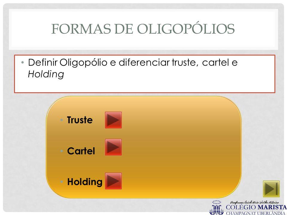 Formas de Oligopólios Definir Oligopólio e diferenciar truste, cartel e Holding.