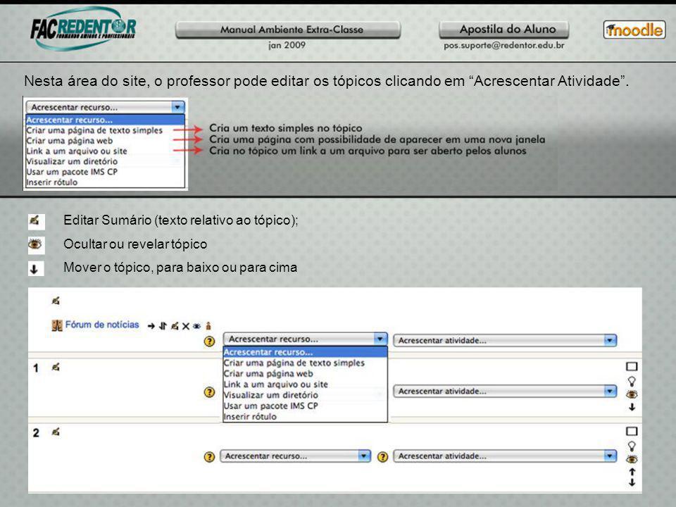 Nesta área do site, o professor pode editar os tópicos clicando em Acrescentar Atividade .