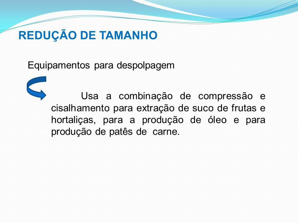 REDUÇÃO DE TAMANHO Equipamentos para despolpagem