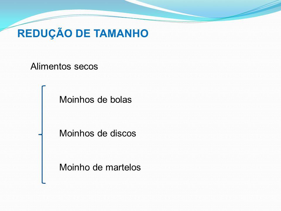 REDUÇÃO DE TAMANHO Alimentos secos Moinhos de bolas Moinhos de discos
