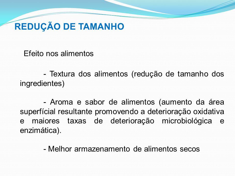 REDUÇÃO DE TAMANHO Efeito nos alimentos