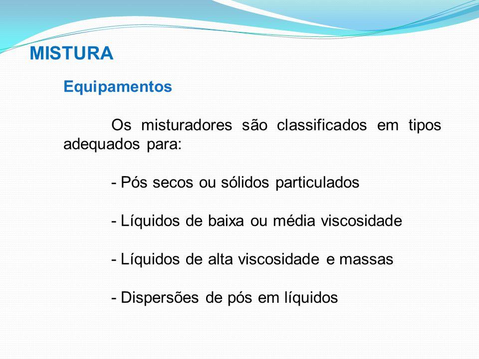 MISTURA Equipamentos. Os misturadores são classificados em tipos adequados para: - Pós secos ou sólidos particulados.