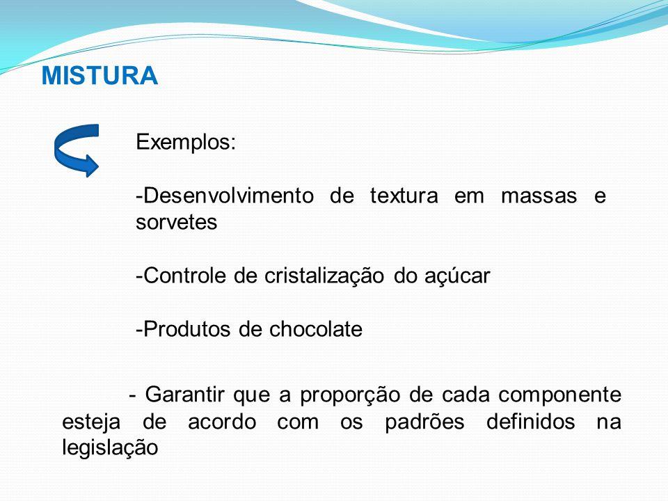 MISTURA Exemplos: Desenvolvimento de textura em massas e sorvetes