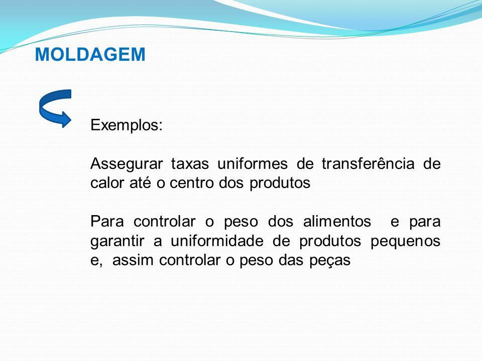 MOLDAGEM Exemplos: Assegurar taxas uniformes de transferência de calor até o centro dos produtos.