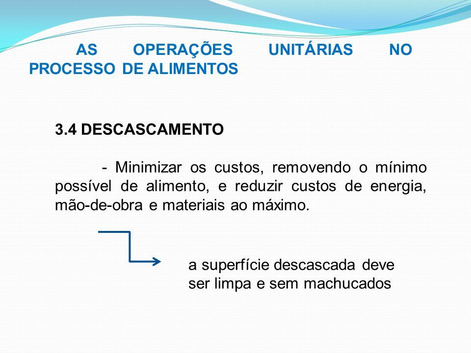 AS OPERAÇÕES UNITÁRIAS NO PROCESSO DE ALIMENTOS