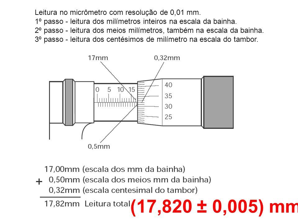 (17,820 ± 0,005) mm Leitura no micrômetro com resolução de 0,01 mm.