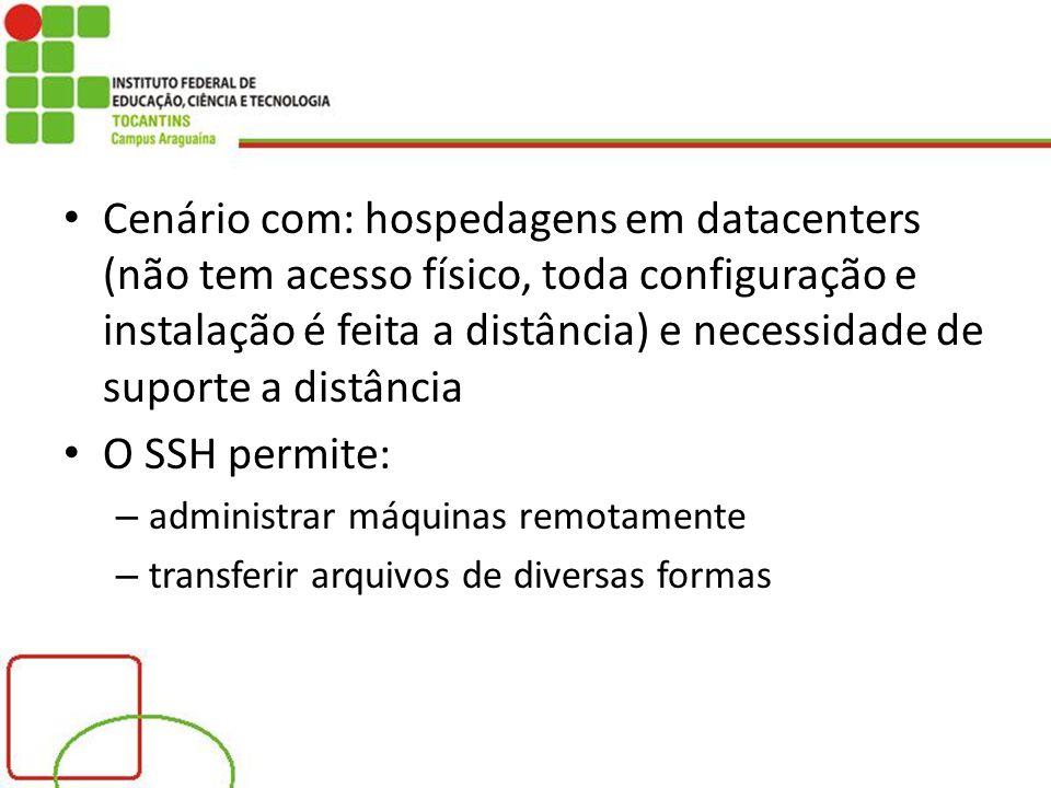 Cenário com: hospedagens em datacenters (não tem acesso físico, toda configuração e instalação é feita a distância) e necessidade de suporte a distância