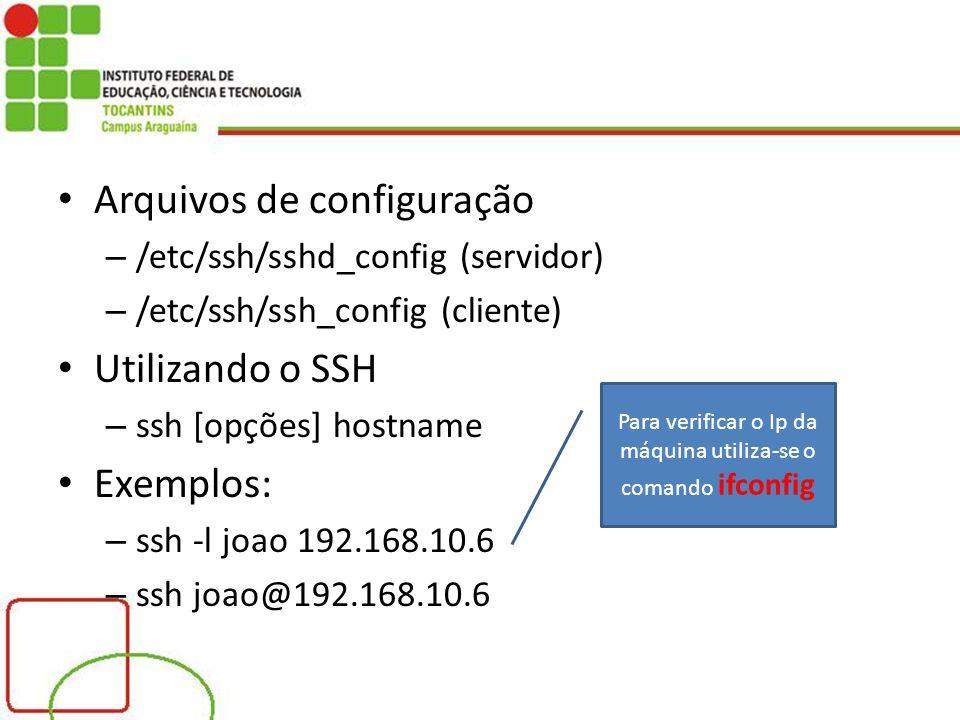 Para verificar o Ip da máquina utiliza-se o comando ifconfig