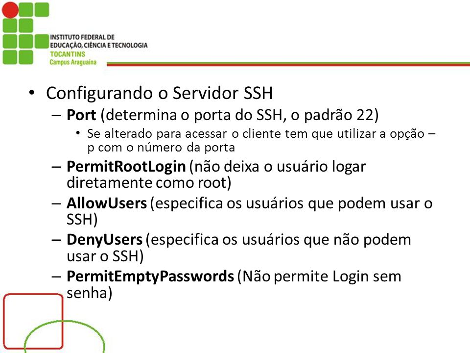 Configurando o Servidor SSH