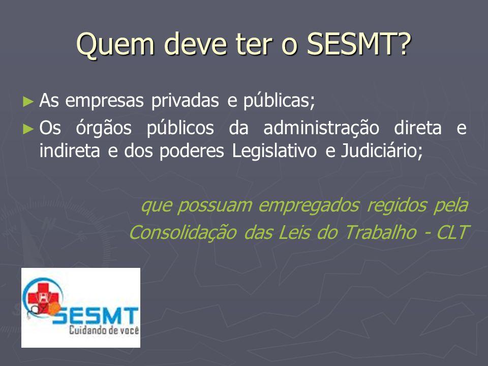 Quem deve ter o SESMT As empresas privadas e públicas;