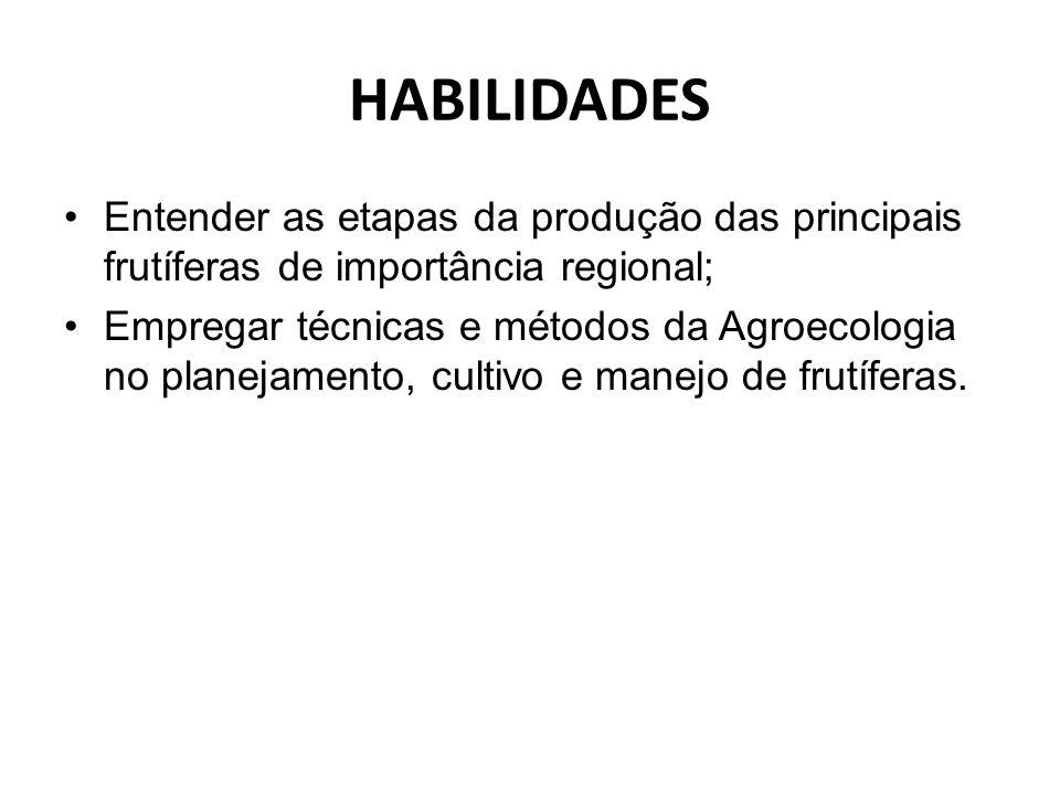 HABILIDADES Entender as etapas da produção das principais frutíferas de importância regional;