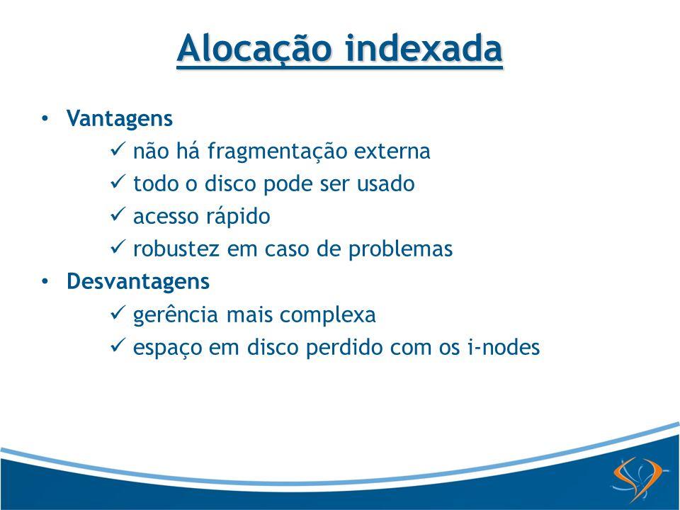 Alocação indexada Vantagens não há fragmentação externa
