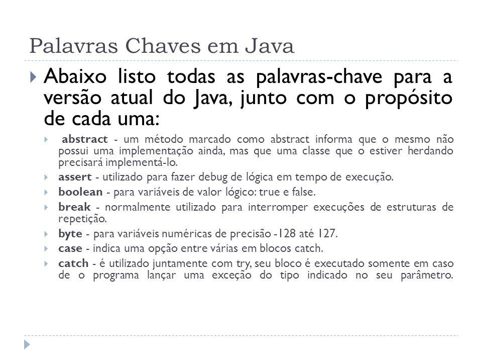 Palavras Chaves em Java