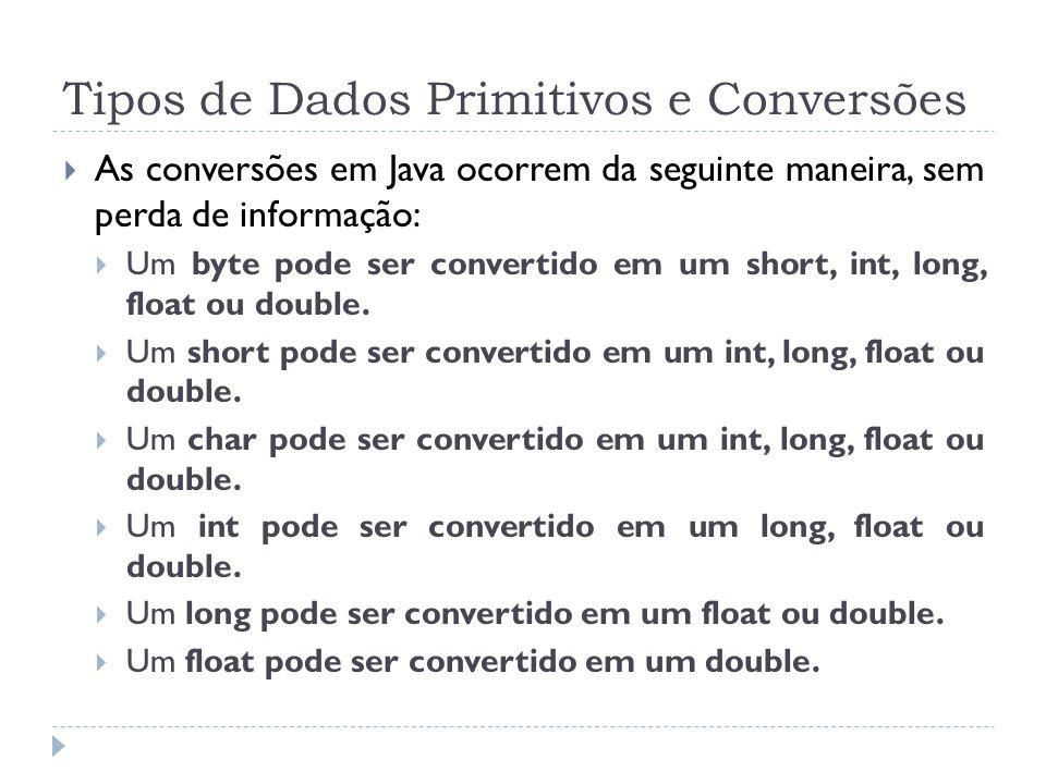Tipos de Dados Primitivos e Conversões