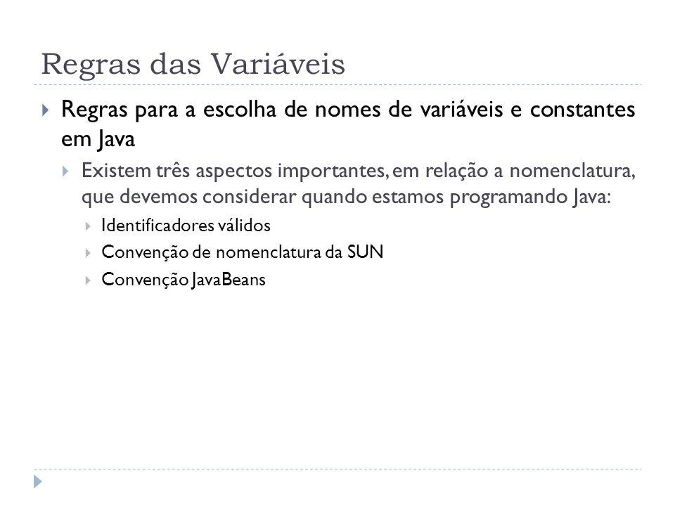 Regras das Variáveis Regras para a escolha de nomes de variáveis e constantes em Java.
